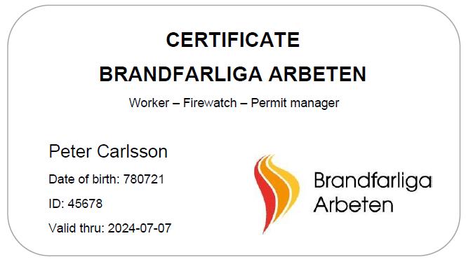 Certifikat brandfarliga arbeten | Eldupphör