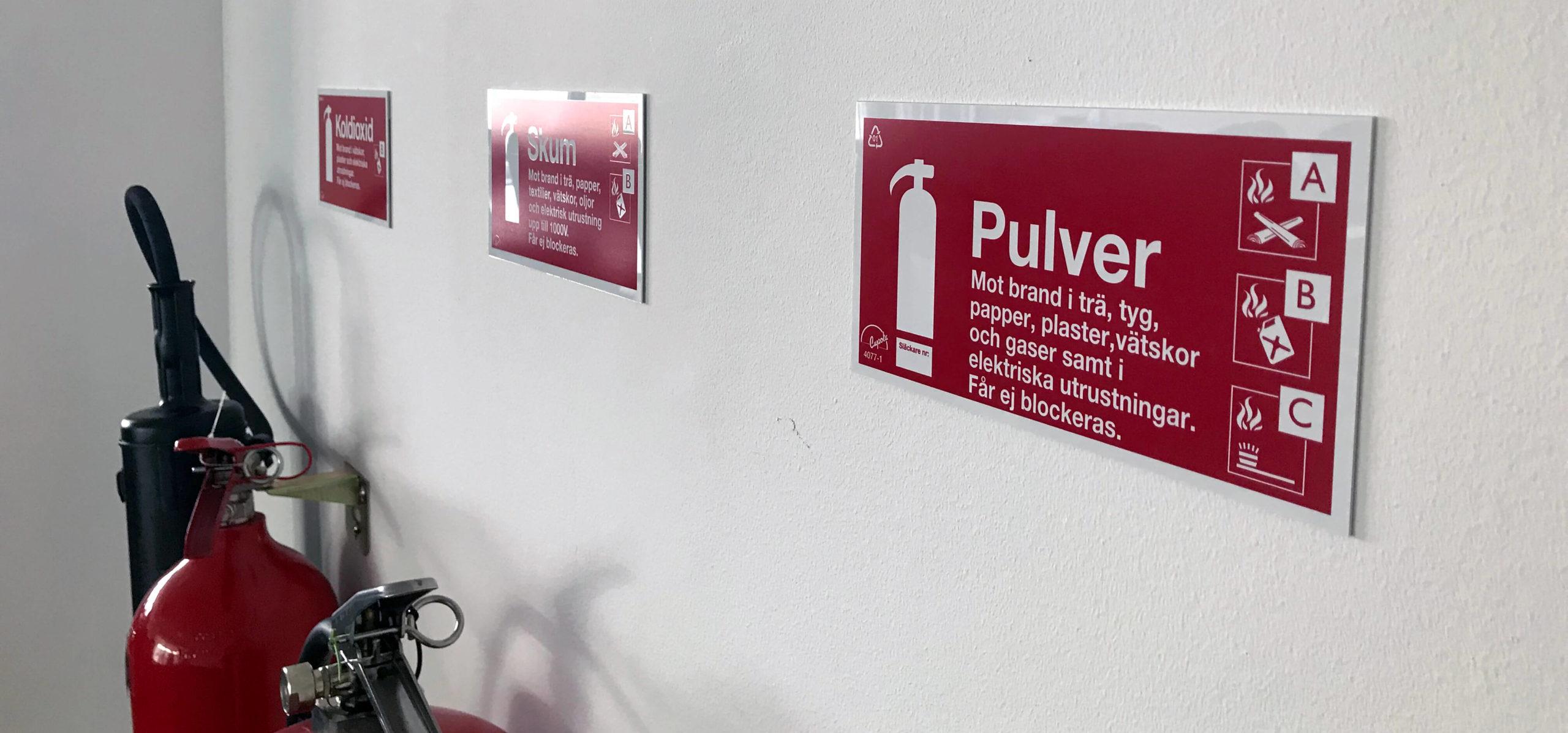 Brandsläckare pulver skum koldioxid Malmö Skåne